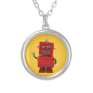 Little Robot Silver Plated Necklace
