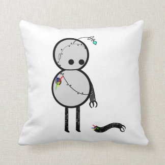 Little robot with broken arm throw pillows