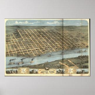 Little Rock Arkansas 1871 Panoramic Map Poster