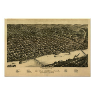 Little Rock Arkansas 1887 Antique Panoramic Map Poster