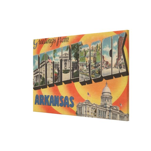 Little Rock, Arkansas - Large Letter Scenes Canvas Print