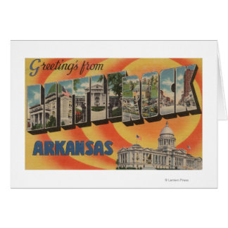 Little Rock, Arkansas - Large Letter Scenes Card