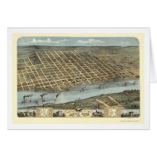 Little Rock, Arkansas Panoramic Map - 1871 Greeting Card