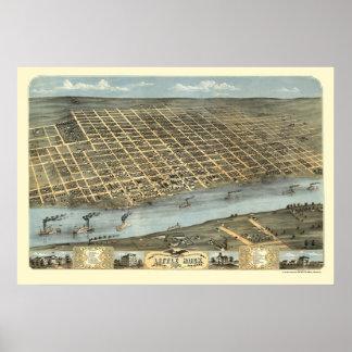 Little Rock, Arkansas Panoramic Map - 1871 Poster