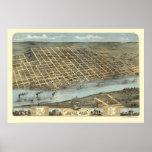 Little Rock, Arkansas Panoramic Map - 1871 Posters