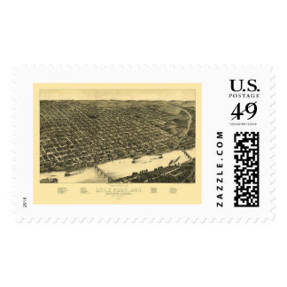 Little Rock, Arkansas Panoramic Map - 1887 Stamp