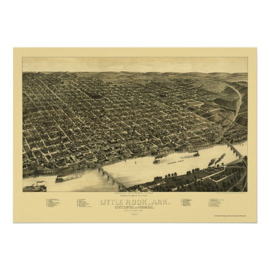 Little Rock, Arkansas Panoramic Map - 1887 Poster