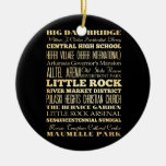 Little Rock City of Arkansas State Typography Art Double-Sided Ceramic Round Christmas Ornament