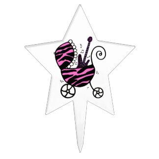 """Little Rock Star"" Baby Girl Star Cake Toppers"