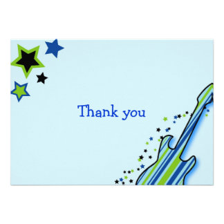 Little Rock Star Boy Thank You Note Cards Announcement