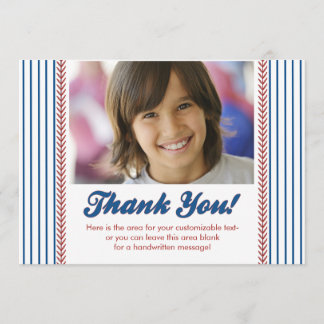 Little Rookie Photo Baseball Thank You Note