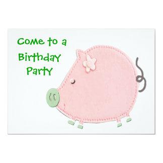 Little Round Pink Piggy Birthday Party 5x7 Paper Invitation Card