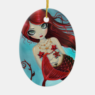 Little Ruby Red Mermaid Fantasy Art Double-Sided Oval Ceramic Christmas Ornament
