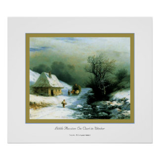 Little Russian Ox Cart in Winter~ Ivan Aivazovsky Poster