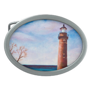 Little Sable Point Lighthouse Oval Belt Buckle