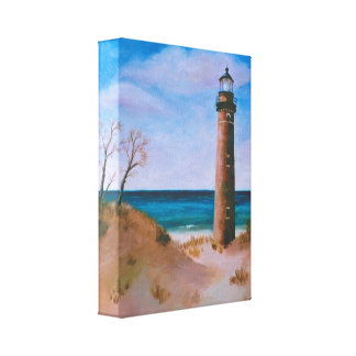 Little Sable Point Lighthouse Wrapped Canvas Print