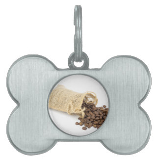 Little sackcloth with coffee beans pet name tag