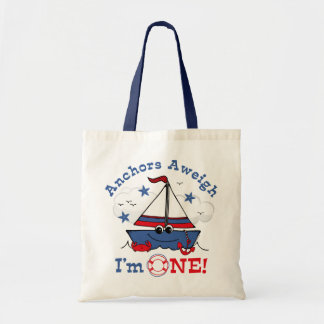 Little Sailboat 1st Birthday Budget Tote Bag