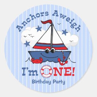 Little Sailboat 1st Birthday Classic Round Sticker