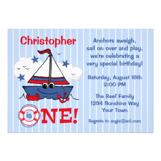 Little Sailboat 1st Birthday Announcement