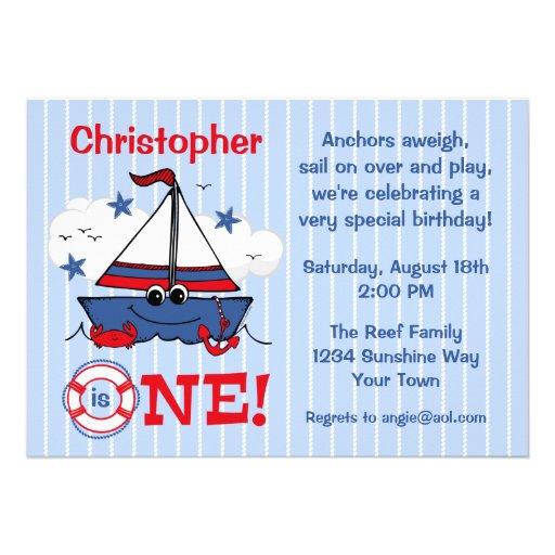 Little Sailboat 1st Birthday Announcement