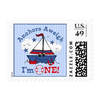 Little Sailboat 1st Birthday Stamp