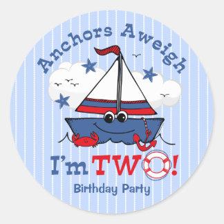 Little Sailboat 2nd Birthday Classic Round Sticker