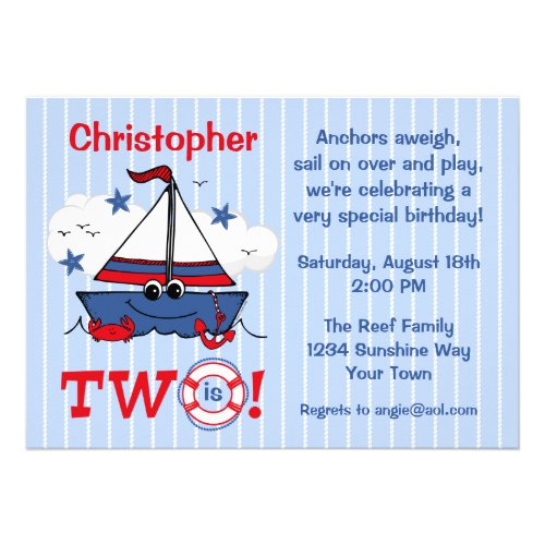 Little Sailboat 2nd Birthday Custom Announcement
