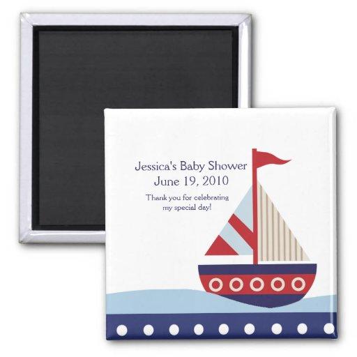 Little Sailboat Navy  Baby Shower Magnet Favor