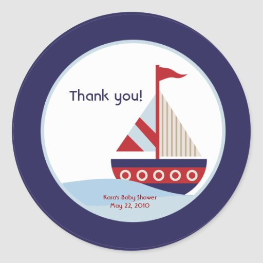 Little Sailboat Navy Boat Baby Shower Favor Classic Round ...