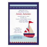 Little Sailboat Navy Boat Nautical Baby Shower 5x7 Custom Announcement