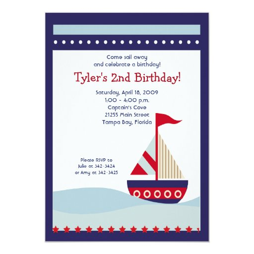 Little Sailboat Navy Boat Nautical Birthday 5x7 Card