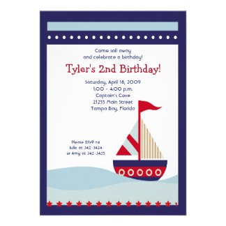 Little Sailboat Navy Boat Nautical Birthday 5x7 Custom Invitation