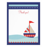 Little Sailboat Navy Naut 4x5 Flat Thank you note Personalized Announcements