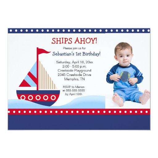Little Sailboat Navy *PHOTO* Birthday 5x7 Card