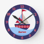 Little Sailboat Personalized Wall Clock (Navy)