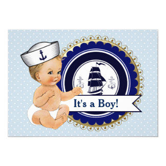 Little Sailor Baby Boy Nautical Baby Shower Card