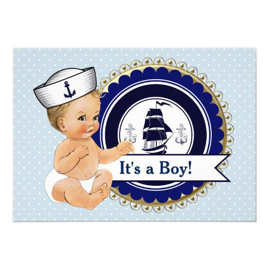 little sailor baby boy nautical baby shower card zazzle