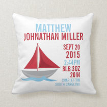 Little Sailor Birth Announcement Nursery Pillow