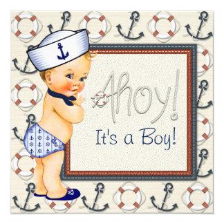 Little Sailor Boy Nautical Baby Shower Blonde Card