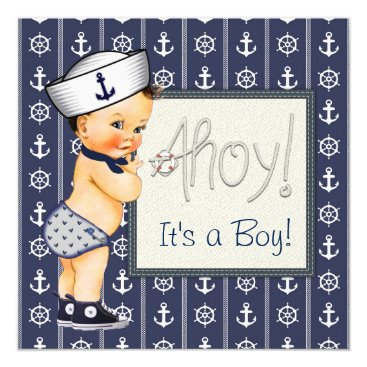 Toddler & Baby themed Little Sailor Boy Nautical Baby Shower Card