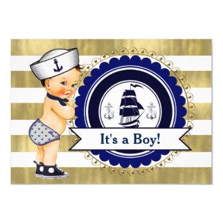 Little Sailor Boy Nautical Baby Shower Card