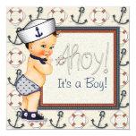 Little Sailor Boy Nautical Baby Shower 5.25x5.25 Square Paper Invitation Card