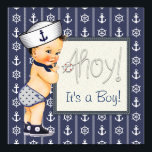 "Little Sailor Boy Nautical Baby Shower Invitation<br><div class=""desc"">Sailor baby shower invitation with adorable sailor baby boy on a ship wheel and anchor nautical background. This adorable nautical baby shower invitation is easily customized for your event. Add your details to the front and/or back by simply adding your event details, font style, font size &amp; color, and wording....</div>"