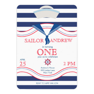 Little Sailor First Birthday Invitations