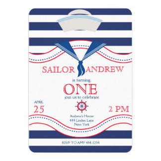 Little Sailor First Birthday Invitations