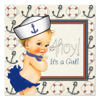 Little Sailor Girl Nautical Baby Shower Card