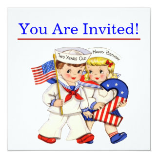 """Little Sailor Twins 2nd birthday party invitiation 5.25"""" Square Invitation Card"""