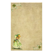 Little Saint Patty's Day Girl- Stationery- No Line Stationery
