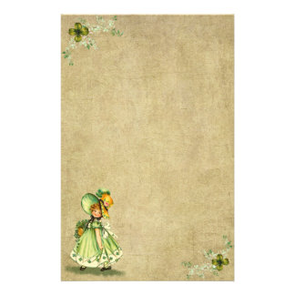 Little Saint Patty's Day Girl- Stationery- No Line Stationery